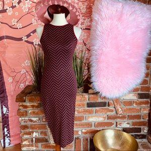 Vtg 90s Multi Chevron Wiggle Dress SM
